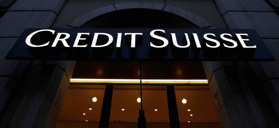 A Swiss bank Credit Suisse sign is pictured in Geneva